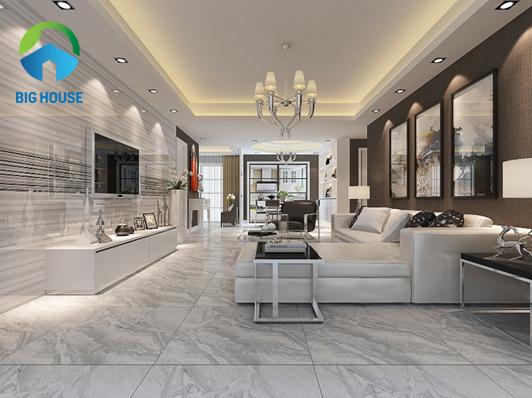 Gạch giả đá lát phòng khách – Xu hướng thiết kế không thể bỏ lỡ